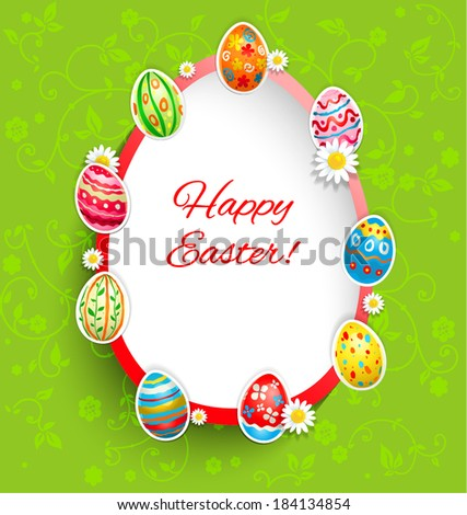 Holiday easter frame on green background with place for text