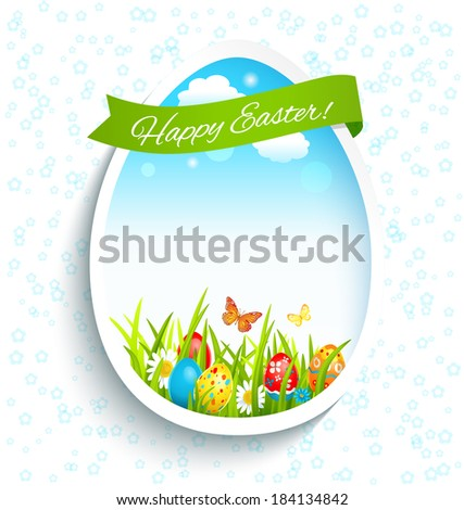 Holiday easter frame with blue sky and colored eggs in the green grass