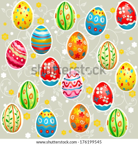 Holiday Easter seamless pattern with color eggs