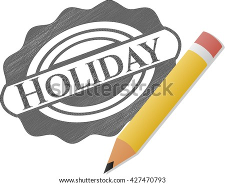 Holiday emblem draw with pencil effect
