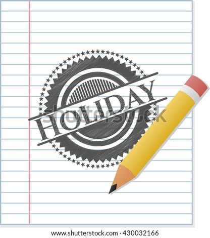 Holiday emblem drawn in pencil