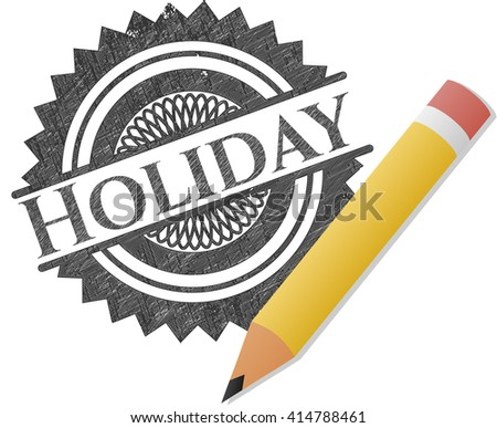 Holiday emblem with pencil effect