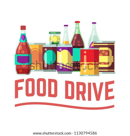 Holiday food drive concept. Canned food for christmas donation charity and homeless helping. Vector illustration. Food for charity and donation homeless, drink soup and canned