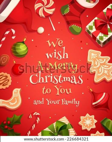 Holiday frame. Christmas card \ poster \ banner. Vector illustration.