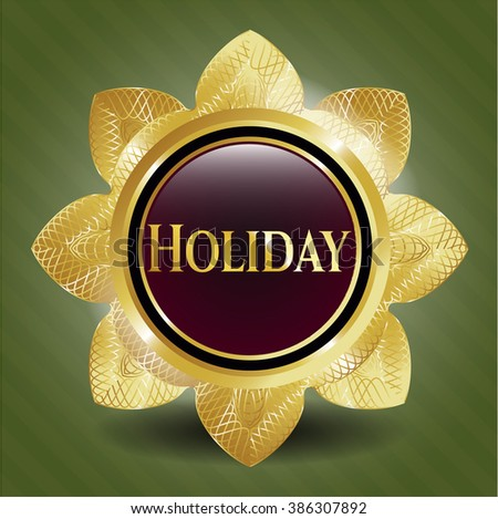 Holiday gold emblem