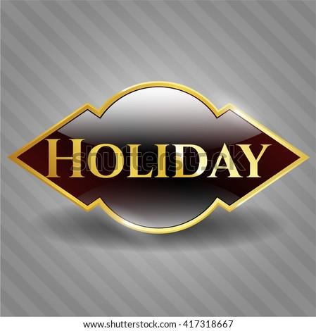 Holiday golden badge or emblem