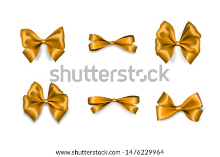 Holiday golden bow. Color eve satin Christmas gift bow knot ribbon. Birthday realistic design isolated vector. Silk shiny xmas bow textile sale tape. Satin bow set for gift. Silk golden tape.