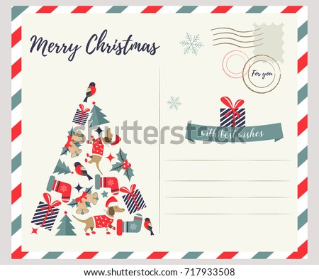 Holiday greeting card with Christmas eve.
