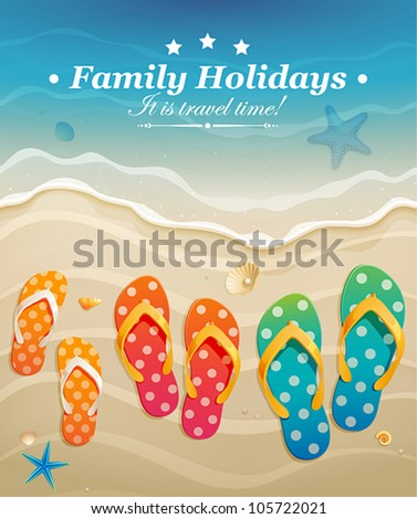 Holiday greeting card with family flip-flops. Vector illustration.