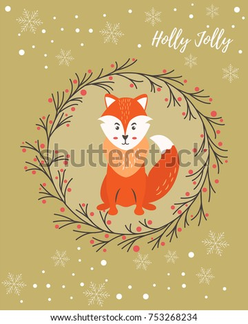Holiday greeting card with funny fox ez canvas holiday greeting card with funny fox m4hsunfo