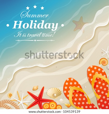 Holiday greeting card with wave and shells. Vector illustration.