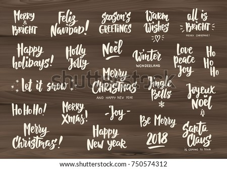 Holiday Greeting Quotes And Wishes Hand Drawn Text Letterings On Wooden Background Merry