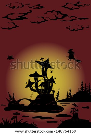 Holiday Halloween landscape with magic Castle - mushroom and witch. Vector
