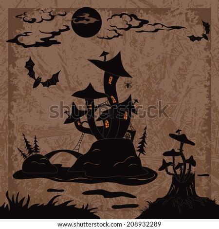 Holiday Halloween landscape with magic mushroom castle on the marsh island, moon, stump with toadstools and bats, black silhouette on abstract background. Vector