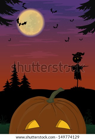 Holiday Halloween landscape with pumpkin Jack O Lantern, scarecrow and bats. Element of this image furnished by NASA (www.visibleearth.nasa.gov). Vector