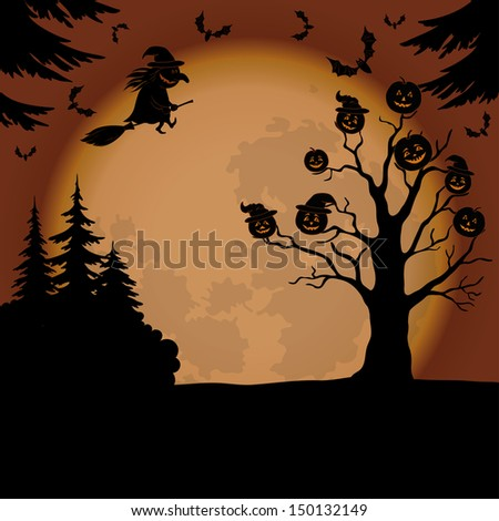 Holiday Halloween landscape with pumpkins Jack O Lantern, witch, trees and bats.