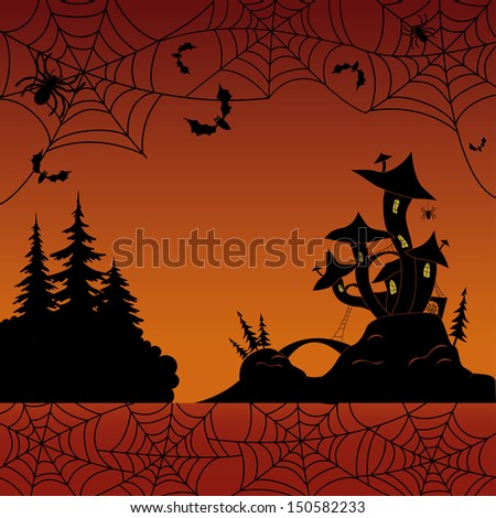 Holiday Halloween landscape with silhouetted magic Castle �¢?? mushroom, spiders, cobwebs and bats. Vector