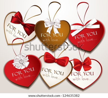 Holiday heart shaped cards with silk ribbons