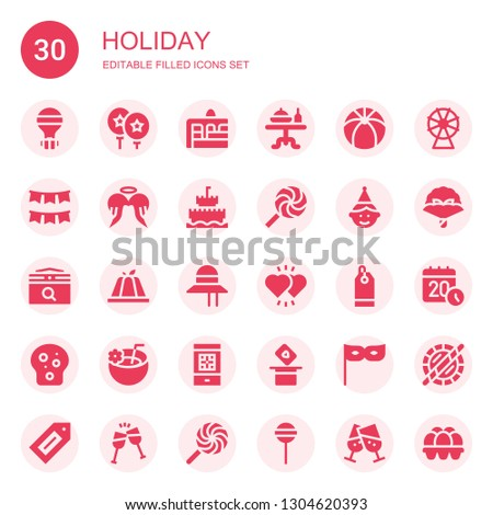 holiday icon set collection of