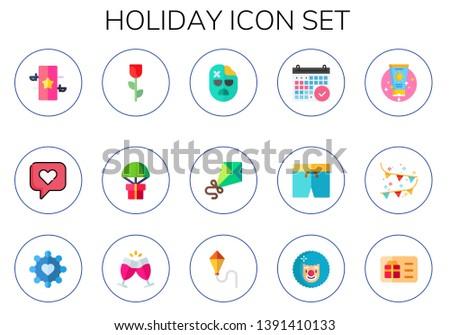 holiday icon set 15 flat