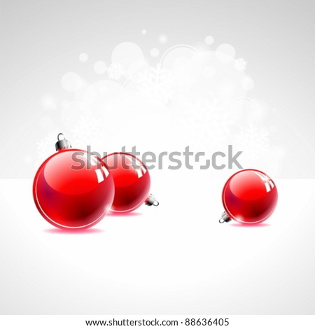 Holiday illustration with red Christmas ball on abstract circle background. eps 10 vector - stock vector