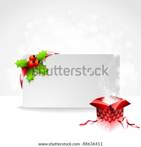 Holiday illustration with red Christmas ball on abstract circle background. eps 10 vector