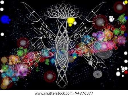 Holiday in the night sky. The royal butterfly