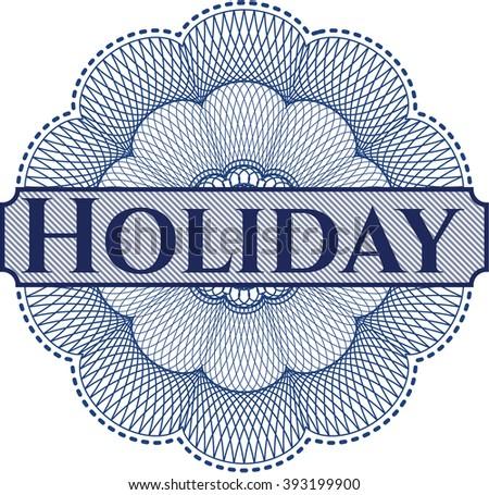 Holiday inside money style emblem or rosette