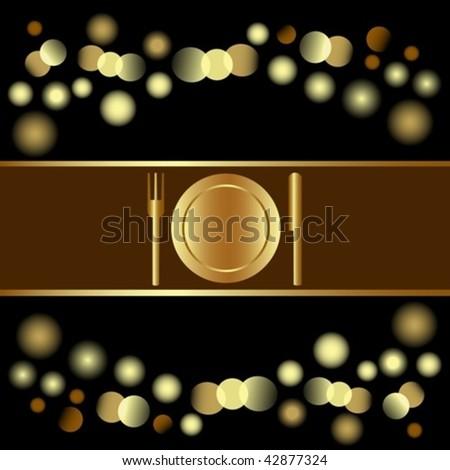Holiday invitation or Menu design on glittering light background