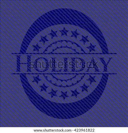 Holiday jean or denim emblem or badge background