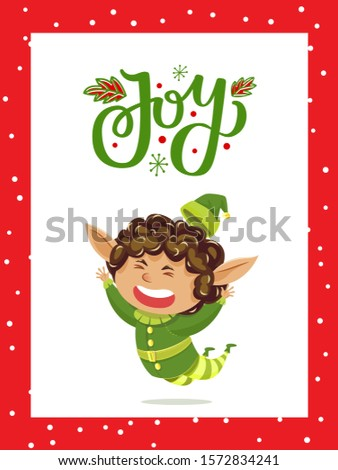 Holiday joy caption on greeting postcard. Elf jumping and having fun. Fairy character greet people with christmas. Little boy in green costume. Vector illustration of xmas card in flat style