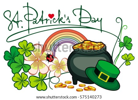 Holiday label with shamrock, rainbow and leprechaun pot of gold. St. Patrick Day background. Copy space. Vector clip art.
