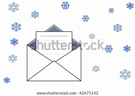 holiday postcard with snowflakes for your very kind letter
