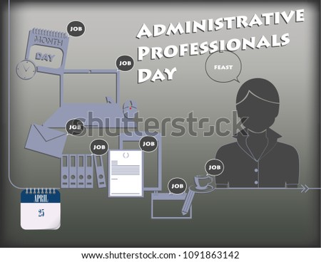 Holiday poster for Administrative Professionals Day or Secretary's Day. Vector.