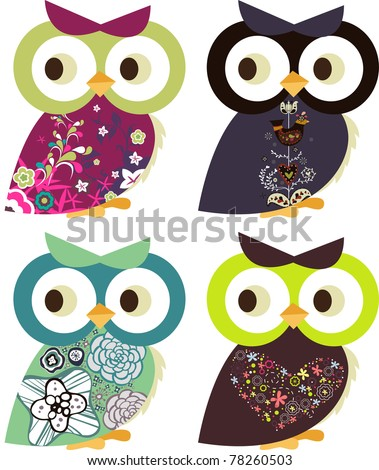holiday project set -very cute kid's project- scrap-booking elements- floral sticker - owl