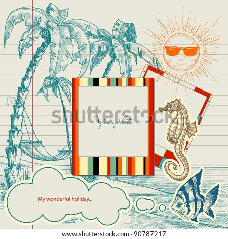 Holiday projects for travel flyers or brochures. Hand drawn beach, palm trees and hammock, frames for photo or text