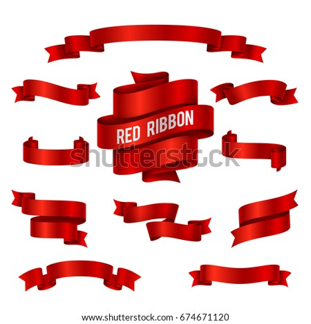 Holiday red glossy ribbon banners vector set for congratulations decoration. Vintage ribbons decoration elegance illustration