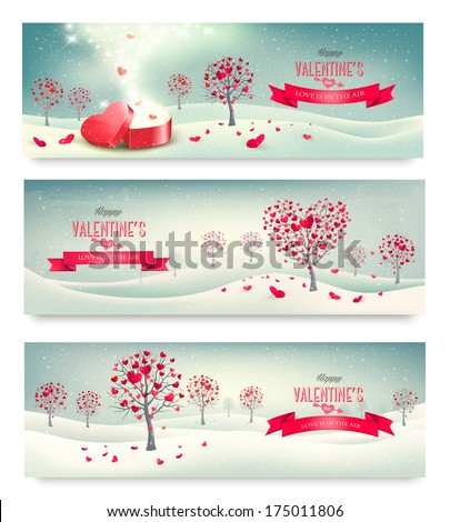 Holiday retro banners Valentine trees with heart-shaped leaves Vector