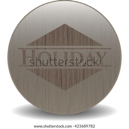 Holiday retro style wood emblem