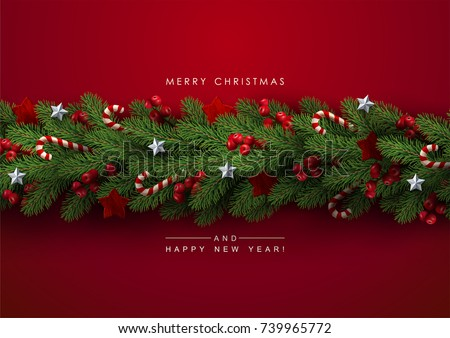 Holiday's Background with Season Wishes and Border of Realistic Looking Christmas Tree Branches Decorated with Berries, Stars and Candy Canes. #739965772