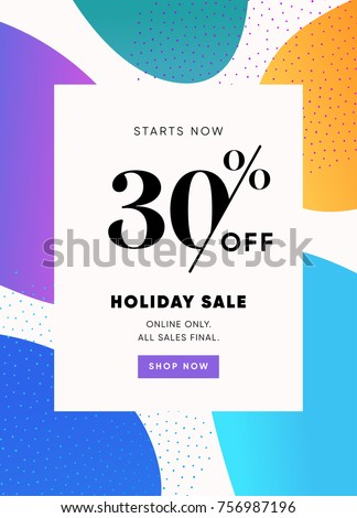 Holiday Sale Banner, 30% OFF Special Offer Ad. Discount Promotion Vector Banner. Price Discount Offer. Season Sale Promo Sticker colorful background.