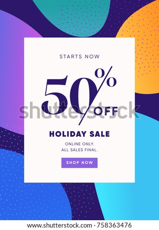 Holiday Sale Banner, 50% OFF Special Offer Ad. Discount Promotion Vector Banner. Price Discount Offer. Season Sale Promo Sticker colorful background.