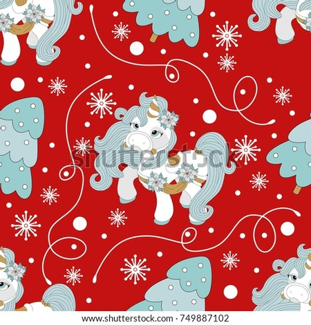 Stock Photo Holiday seamless pattern with Christmas pony and festive elements. Vector illustration.