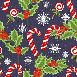 Holiday seamless pattern with Christmas reindeer and holiday items. Vector illustration.