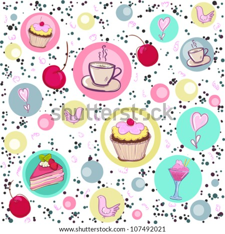 Holiday seamless pattern with sweets and coffee.