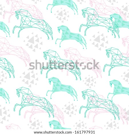 Holiday seamless pattern with triangular horses
