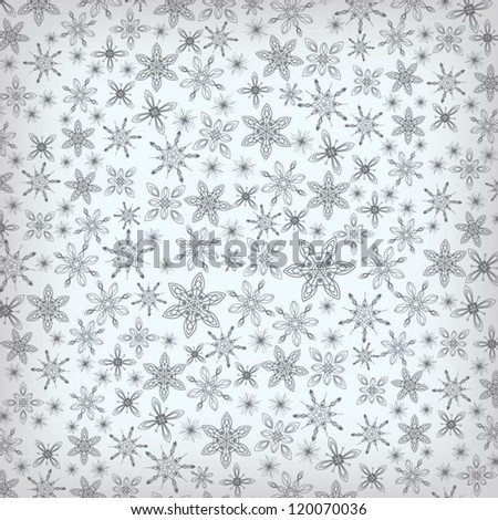 Holiday season winter background with various snowflakes