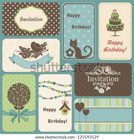 Holiday set of retro cards