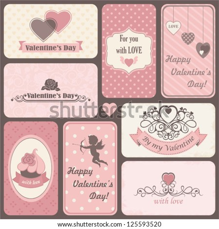 Holiday set of retro cards by St. Valentine's Day