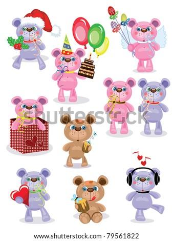 Holiday set ,Teddy bears,vector.